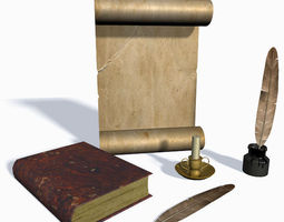 old scroll feather and candle low-poly 3d model