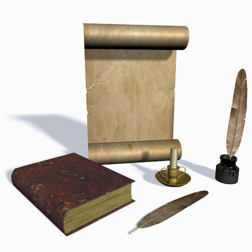 old scroll feather and candle 3d model obj fbx ma mb mtl 1