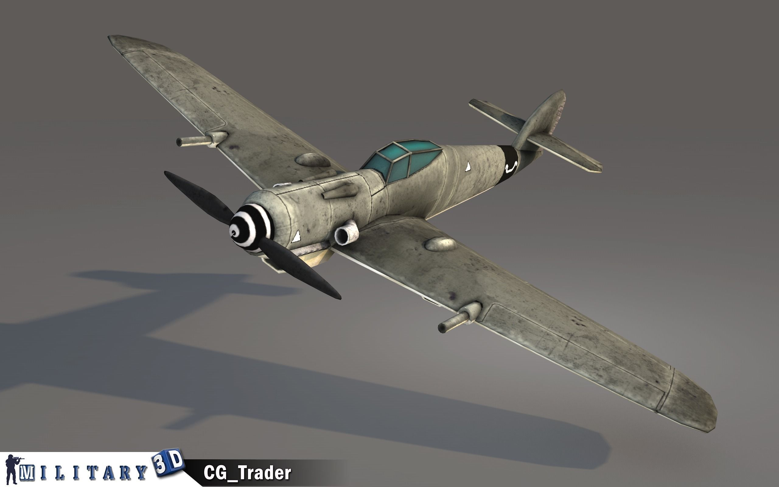 lowpoly WW2 FW 190 fighter aircraft 3d model