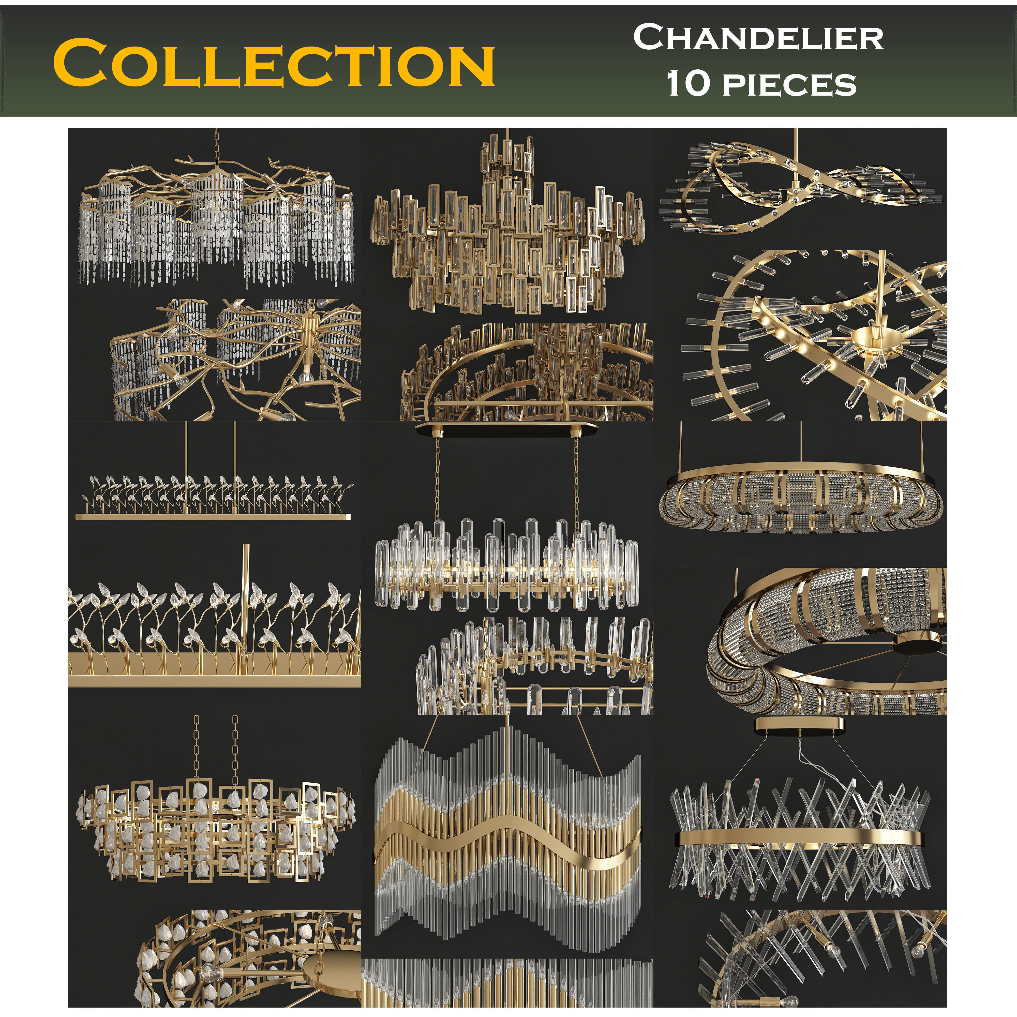 Chandeliers 3d models Collection 10 models