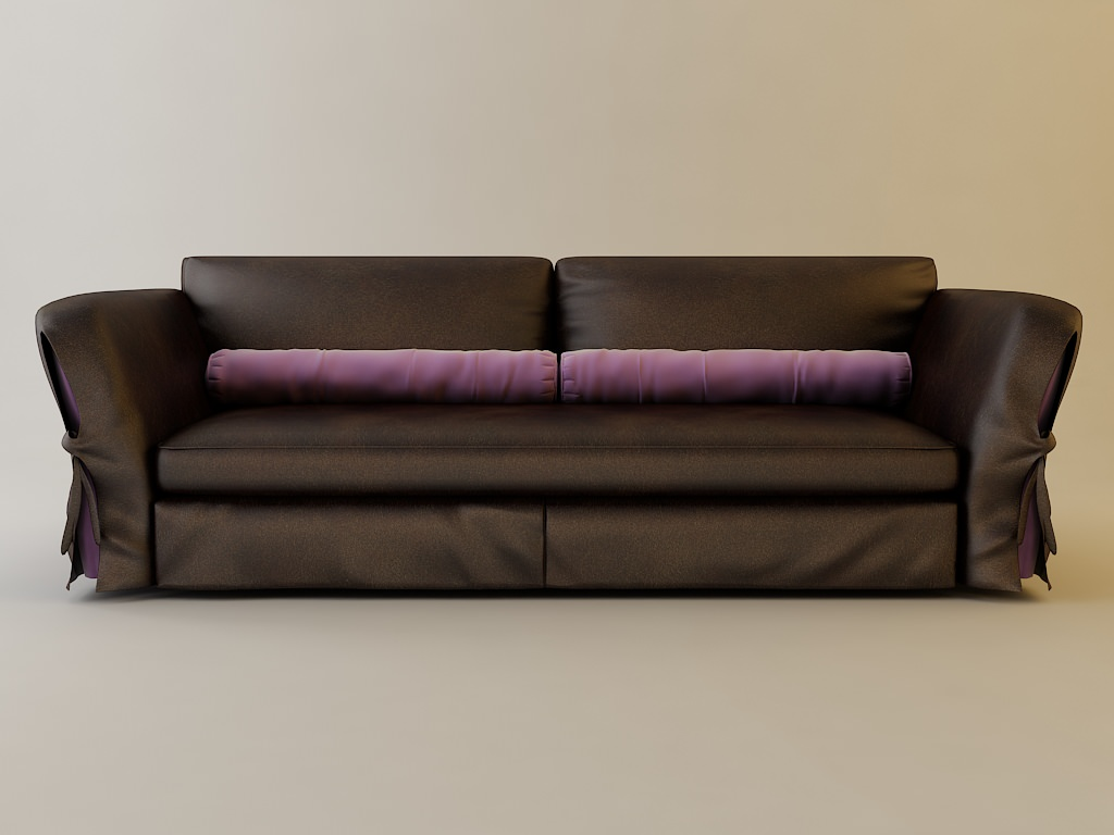 Leather brown sofa 3d model max obj 3ds fbx for Sofa bed 3d model