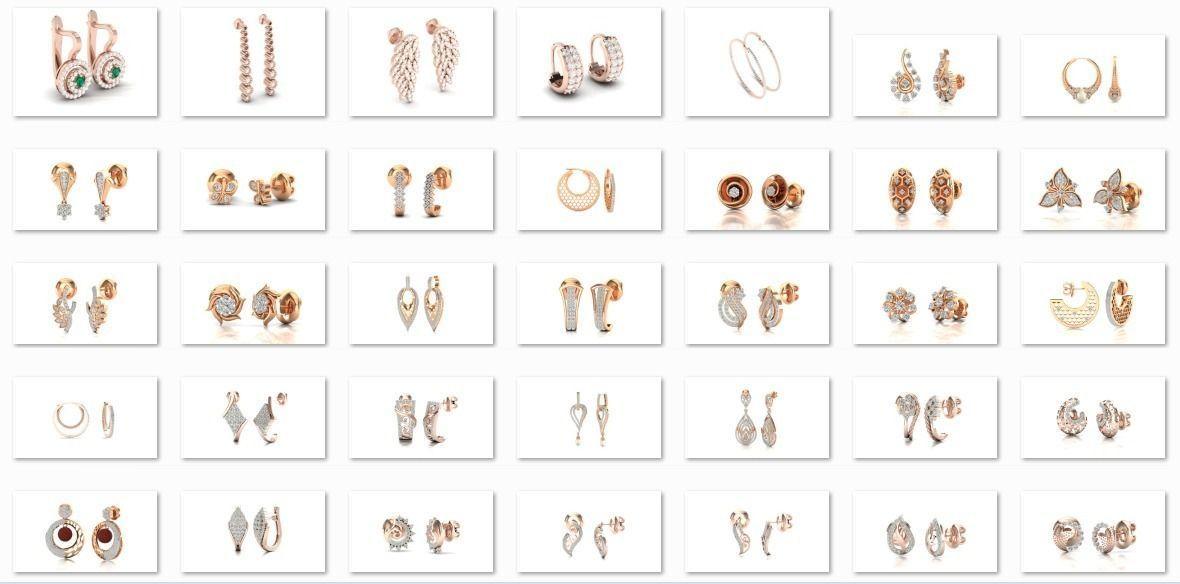 58 Women Earrings 3dm render details bulk collection