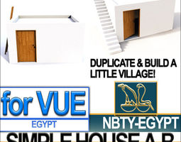 Ancient Egyptian Simple House A and B 3D Model
