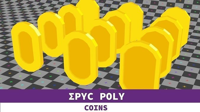 Epic Poly - Mariolike Coin with LOD