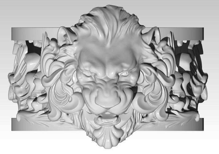 Jewelry Lion Ring Carved Pattern