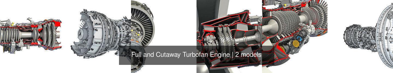 Full and Cutaway Turbofan Engine
