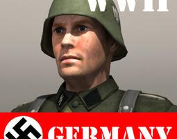 German Soldier and Kar 98k 3D asset