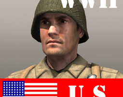 game-ready 3d model american soldier and thompson