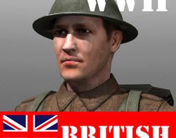 british soldier and lee enfield low-poly 3d asset