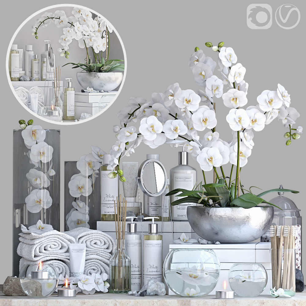 Decorative set for bath with orchid