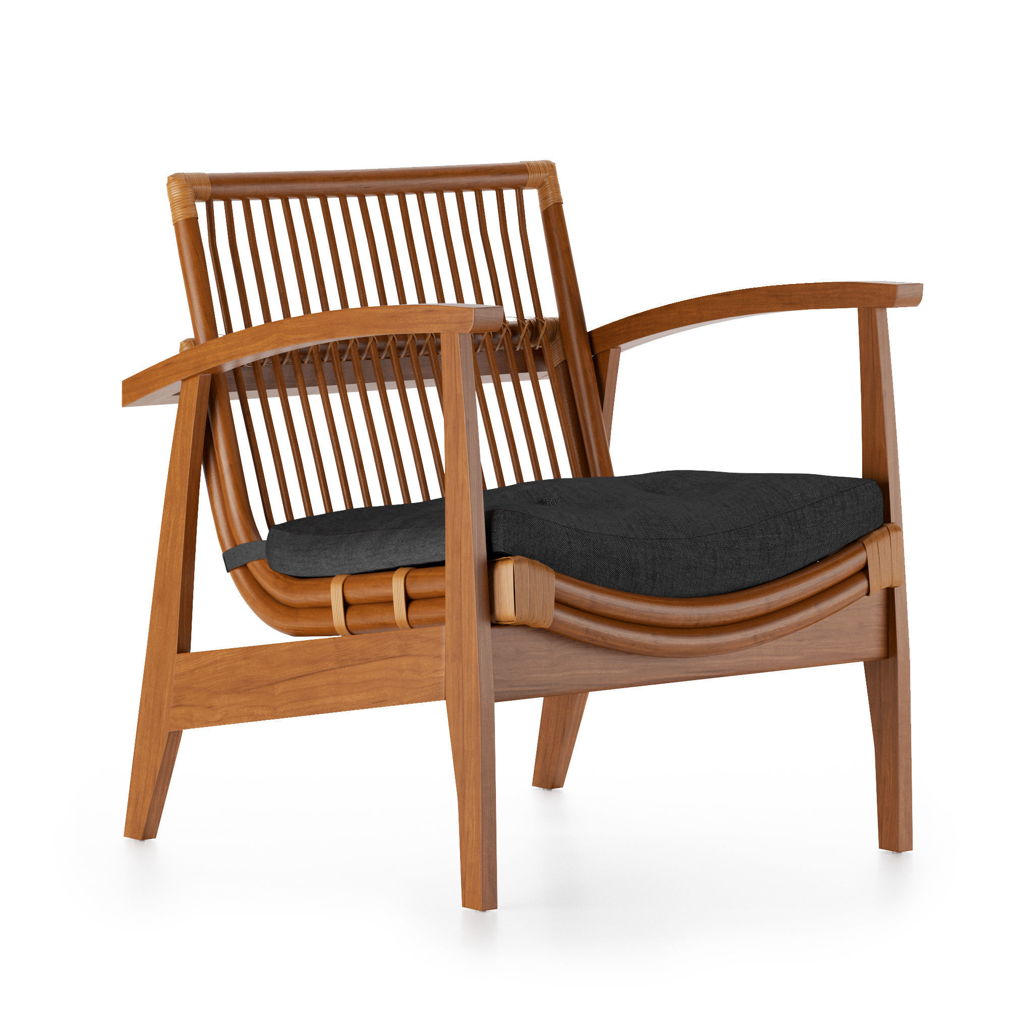 NOELIE RATTAN LOUNGE CHAIR WITH CUSHION  CB2