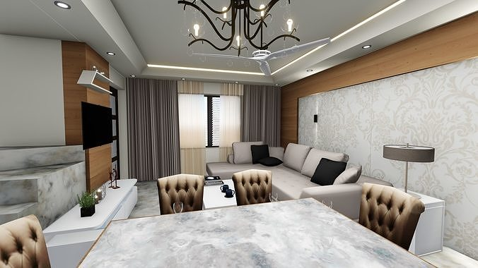 1 bhk interior with furniture 3d model low poly obj mtl stl skp Exciting Walk in Shower Ideas In Your Next Bathroom Remodel