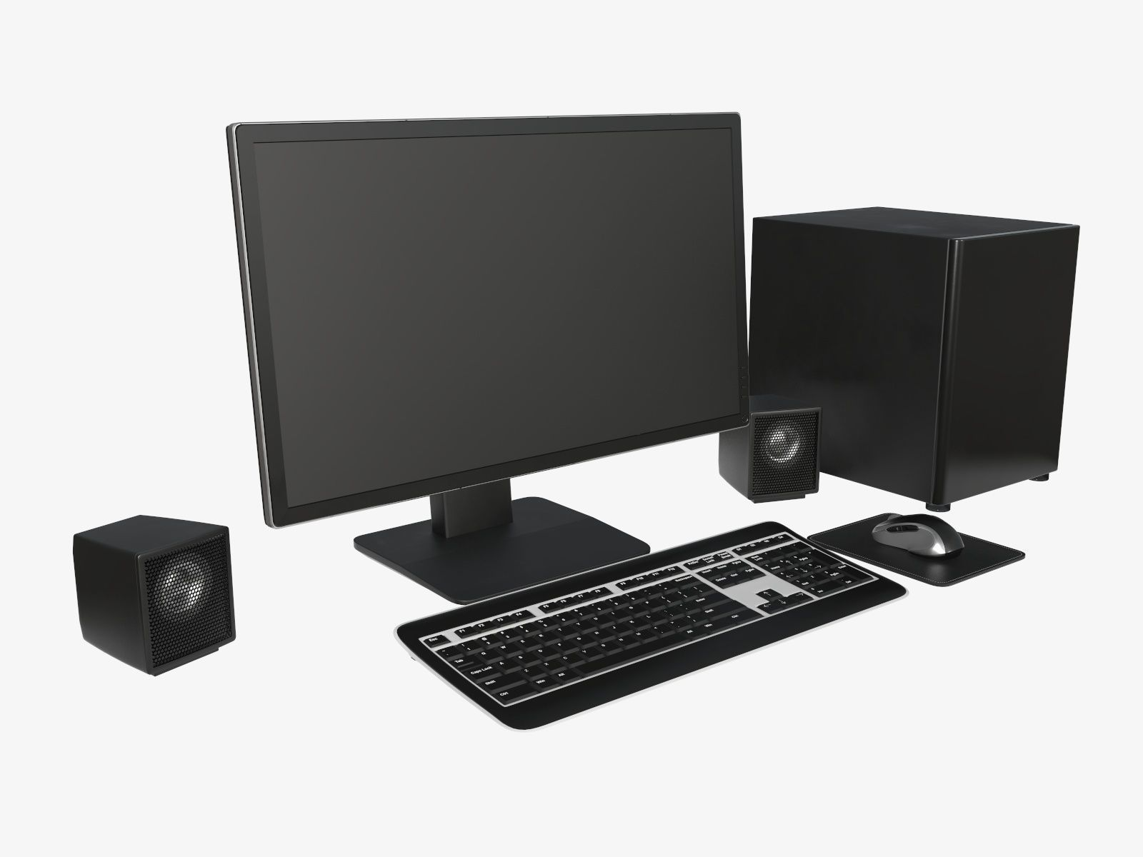 Computer monitor keyboard mouse pad speakers woofer set