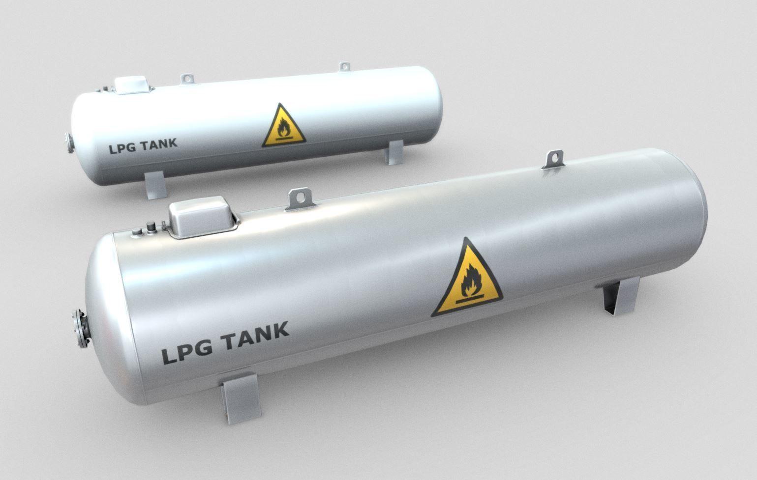 LPG  Liquefied Petroleum Gas Tank Low-Poly