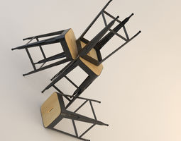 Wood and Metal Stool 3D model