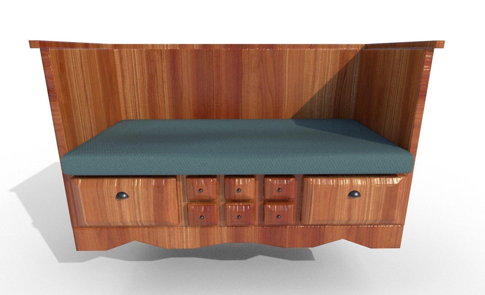 Bench wood 3D model OBJ FBX
