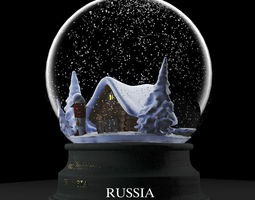 VR / AR ready snowglobe  national traditions series russia 3d asset animated