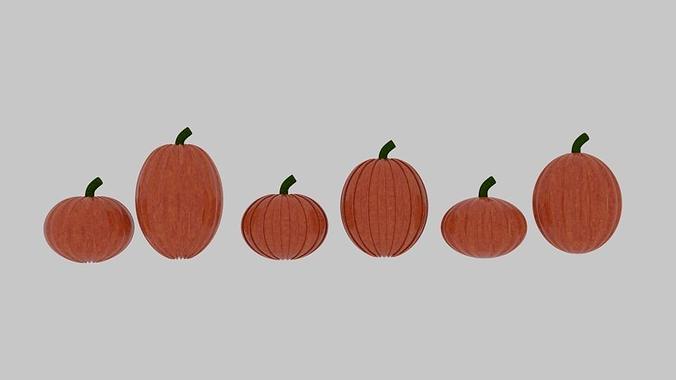 pumpkin pack 3d model low-poly obj mtl 3ds fbx blend dae 1