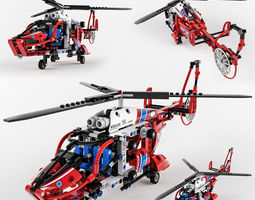 lego technic rescue helicopter 3d model max obj fbx