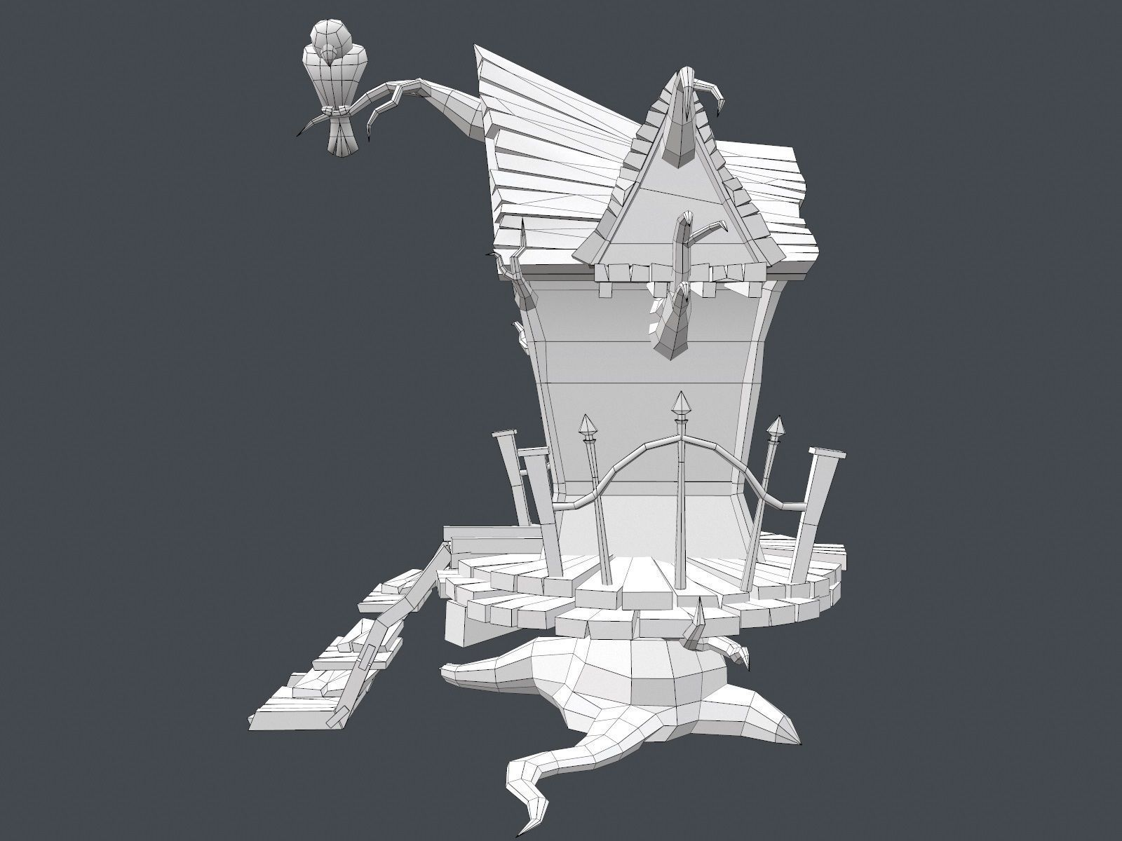 3d asset low poly creepy house cgtrader