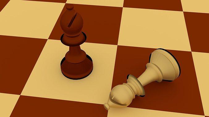chess bishop  3d model obj mtl 3ds fbx blend dae 1