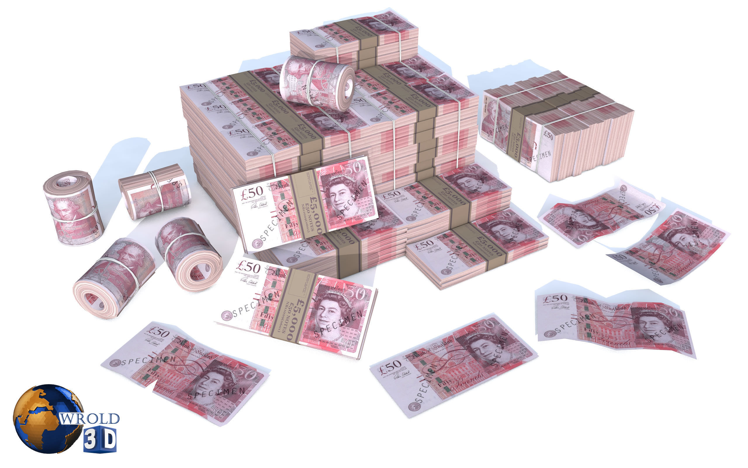 Money Pound Currency Pack 3d model