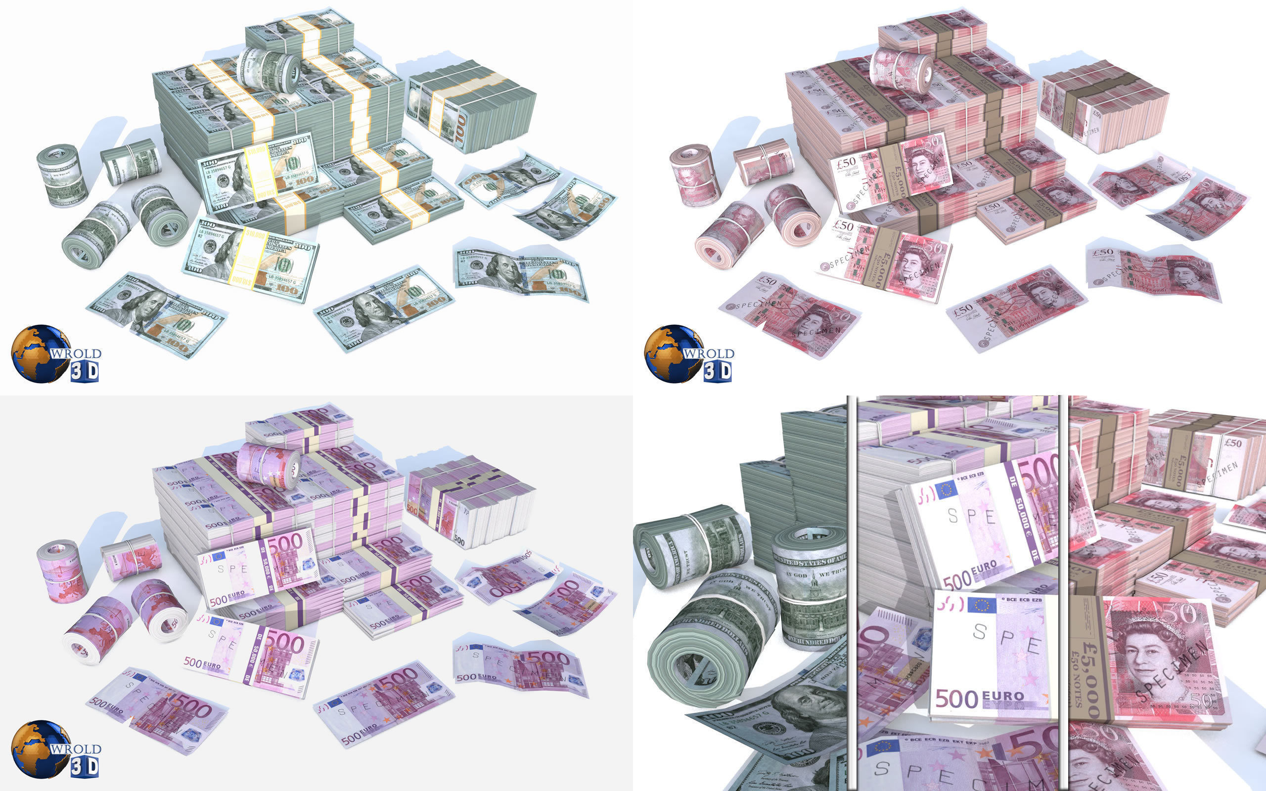 Lowpoly Money Currency Collection Pack 3d model