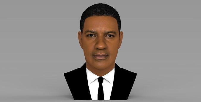 Denzel Washington bust 3D model ready for full color 3D printing