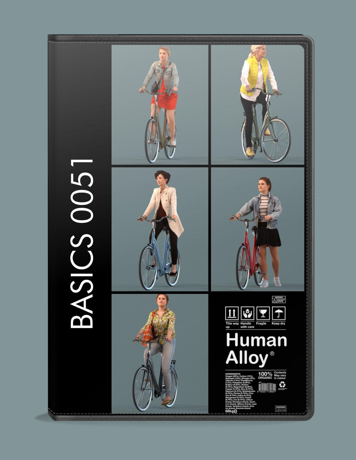Low poly set of 3D women on a bike