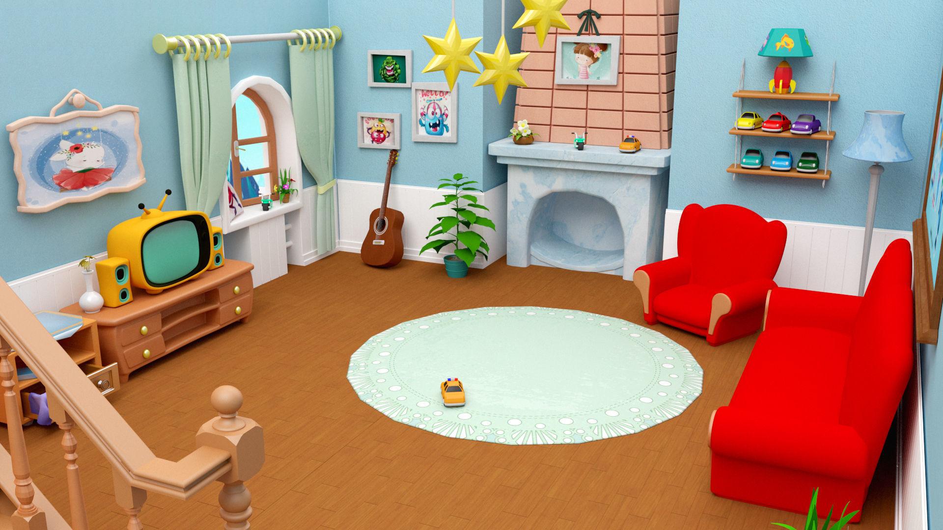3d Model Cartoon Living Room House Cgtrader