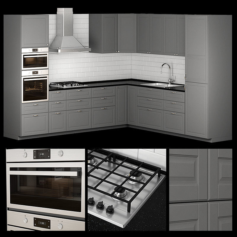 kitchen bodbyn gray L-shaped