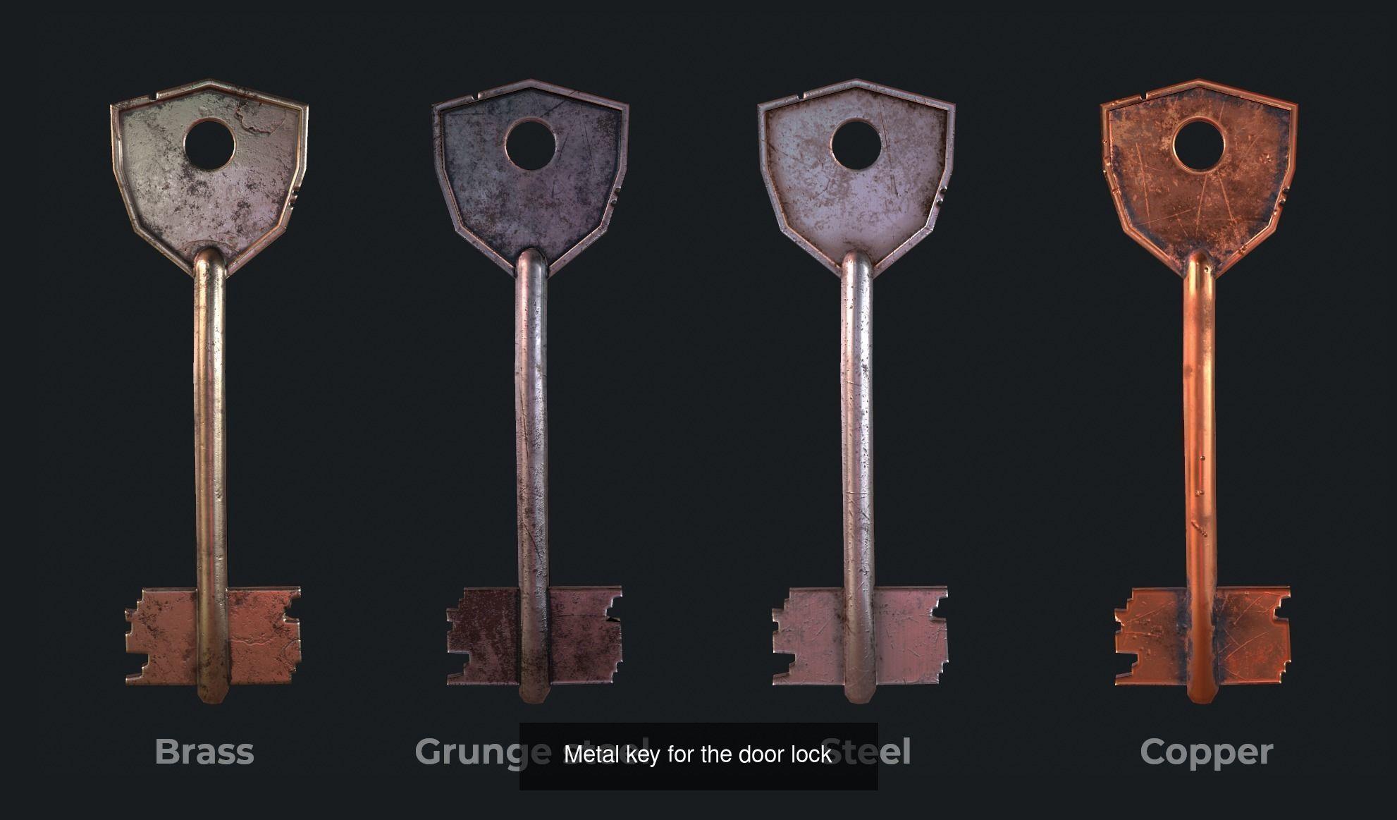 Six metal key for the door lock