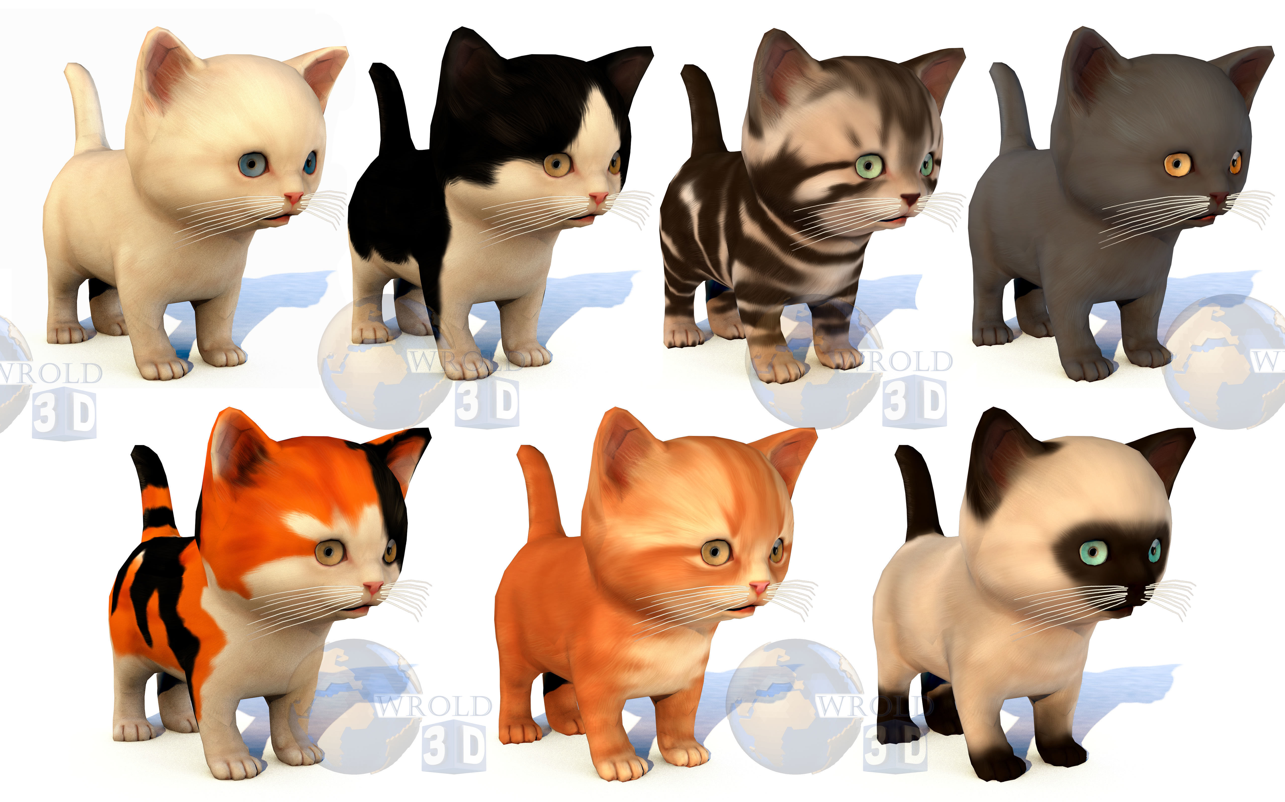 Cute Kitten Rigged Lowpoly 3D Model Collection Pack
