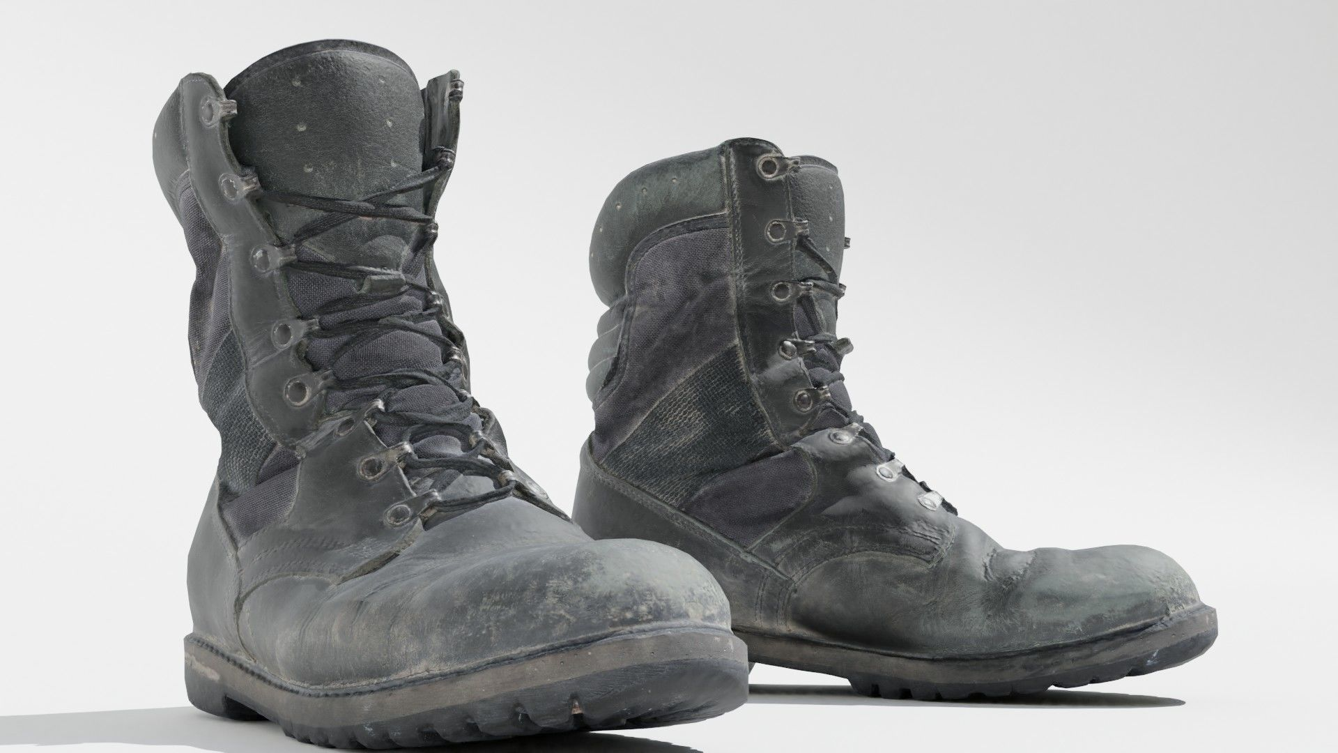 Worn military boots