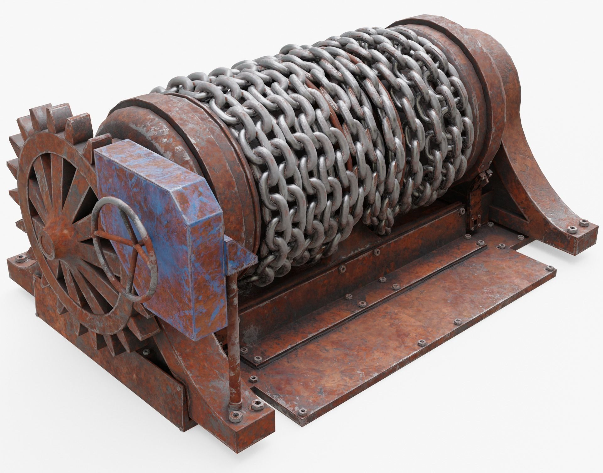 rusty Chain Winch 3D asset realtime | CGTrader