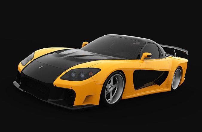 3D asset Mazda RX-7 Veilside   CGTrader