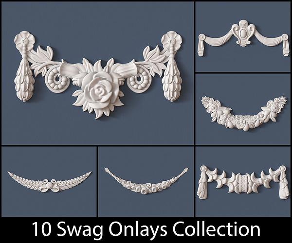 10 swag onlays collection 3d model obj pdf 1