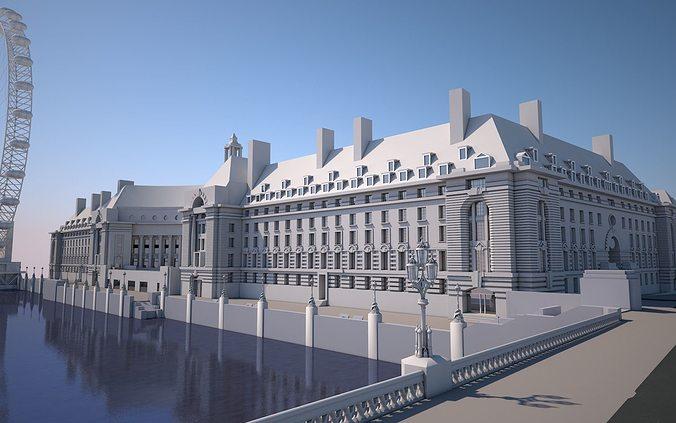 county hall  -  london 3d model max obj fbx c4d stl 1