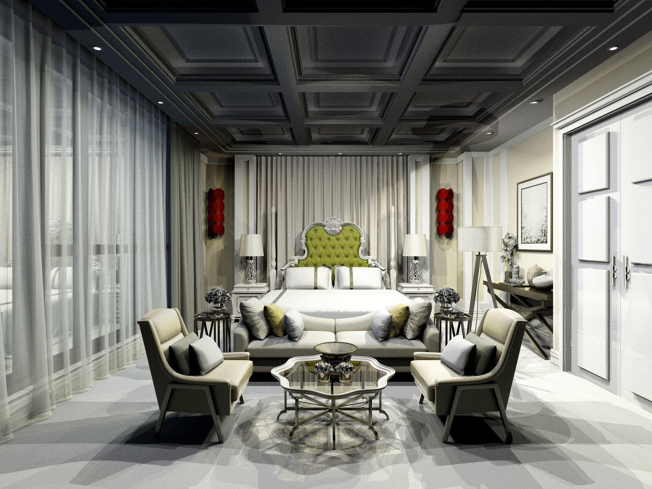 Luxury modern white Bohemian bedroom design   3D model