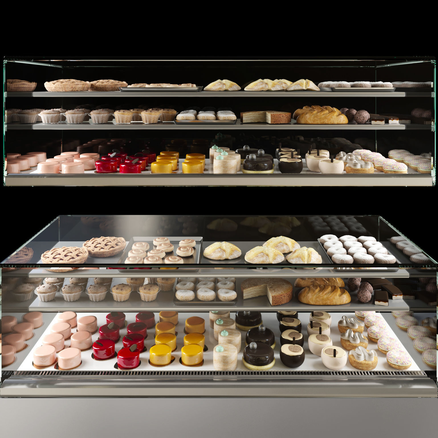 Fridge with desserts