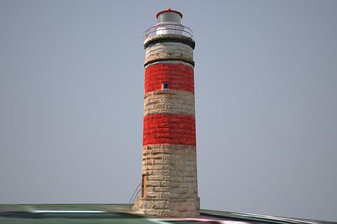 cape moreton lighthouse low poly 3d model obj 3ds dae skp mtl 1