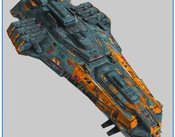 lowpoly starship cruiser v2 3d model low-poly