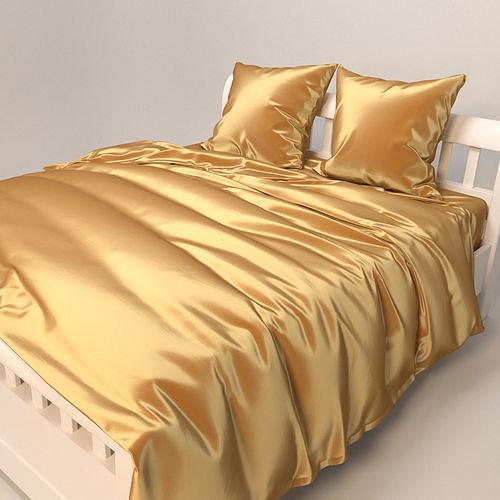 Gold Satin Bedding Set 3d Model Cgtrader, Gold Satin Bedding