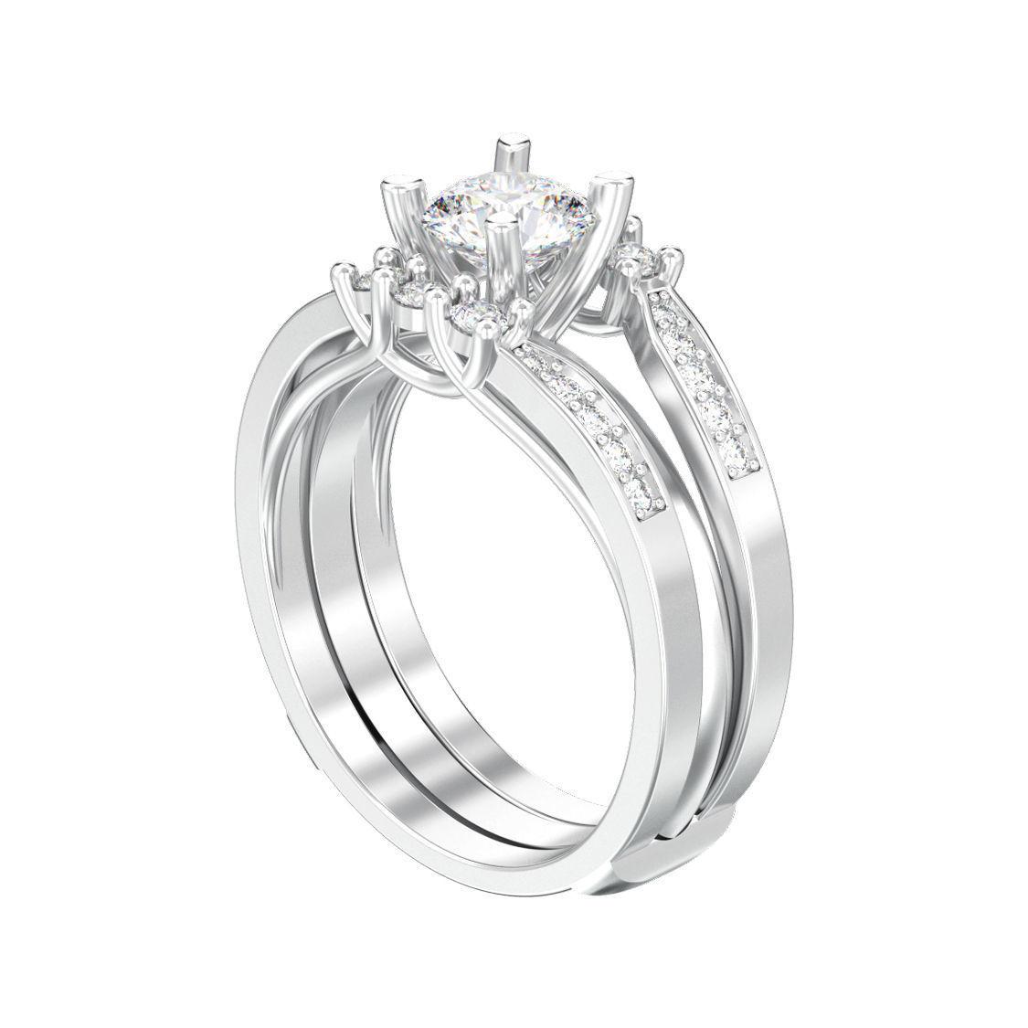Round split shank engagement diamond ring