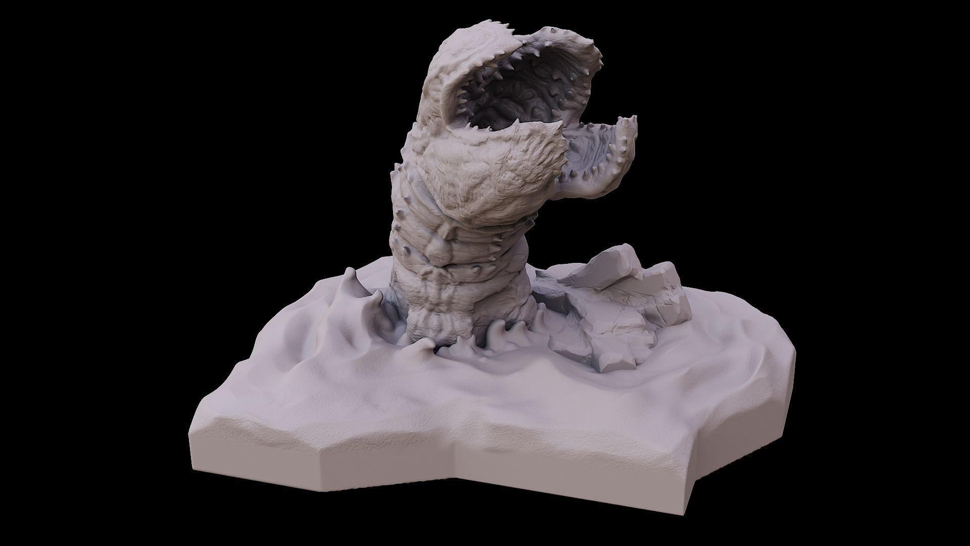 Desert worm in dunes sci fi creature