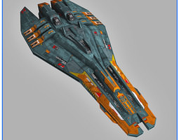 lowpoly starship escort game-ready 3d asset