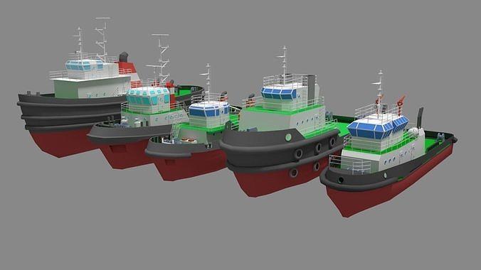 5 Model Tugboat Lowpoly