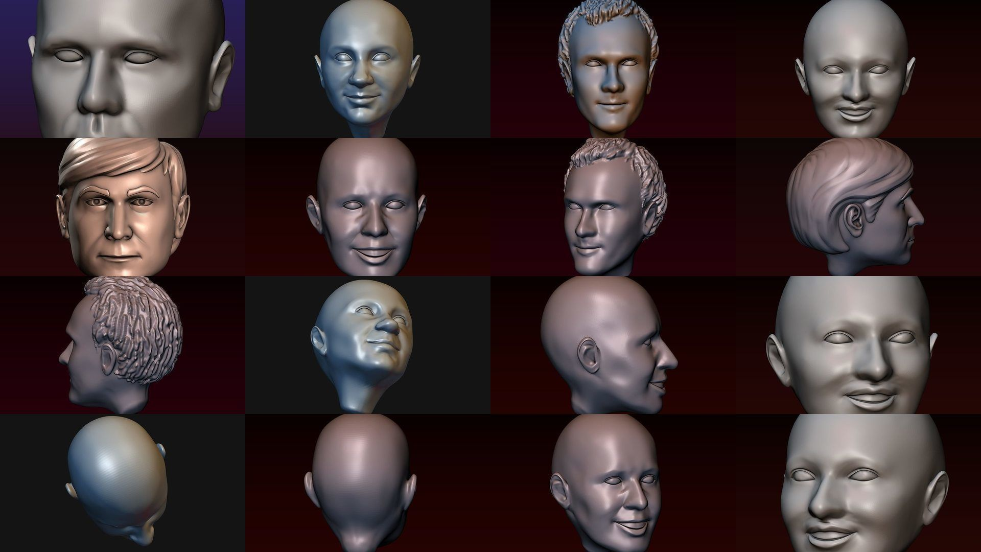 Male and female heads collection - 22 heads