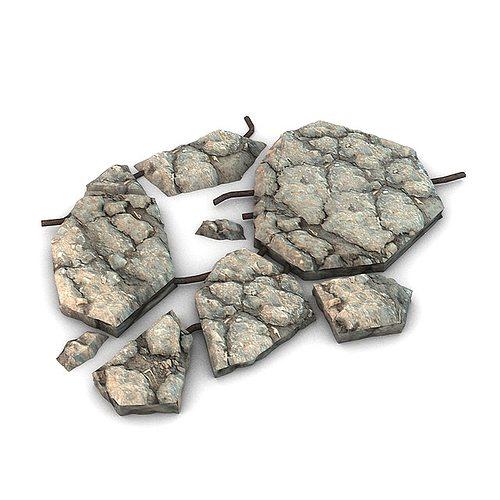 broken concrete 3d model max obj 3ds fbx c4d 1