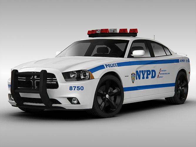 dodge charger nypd police car 2013 3d model max obj mtl 3ds fbx stl 1